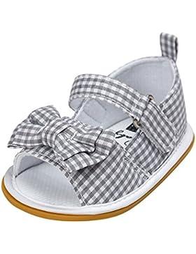 Hongfei Suela de goma del bebé del Bowknot del algodón de las muchachas sandalias antideslizantes del verano del...