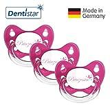 Dentistar Schnuller 3er Set- Nuckel Silikon in Größe 2, 6-14 Monate - zahnfreundlich & kiefergerecht - Beruhigungssauger für Babys - Pink Prinzessin