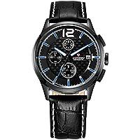 WENY Reloj de Pulsera Creativo único para Hombre Reloj Militar Reloj de Moda Reloj Deportivo Reloj Informal Calendario de Cuarzo/Fecha/Cuero Genuino (Color : Blue, Material : Leather)
