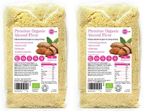 PINK SUN Organic Ground Almonds 2kg (1kg x 2) Almond Flour Low Carb Blanched Meal for Gluten Free Baking Vegetarian and Vegan Bio Bulk Buy Test