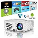 LED WiFi Proyector Bluetooth Teatro en casa HD 1080P Soporte Inalámbrico Proyector de Video Android 4400Lumen WiFi Pantalla LCD TV para Juegos Al Aire Libre con Altavoz 2 HDMI 2 USB VGA AV Audio Zoom