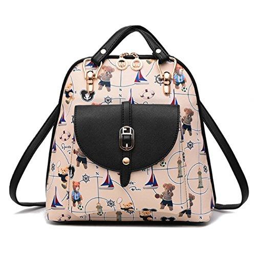 Sacchetto di viaggio dello zaino del sacchetto di spalla della scuola della ragazza delle donne del cuoio sintetico bello Stile-3