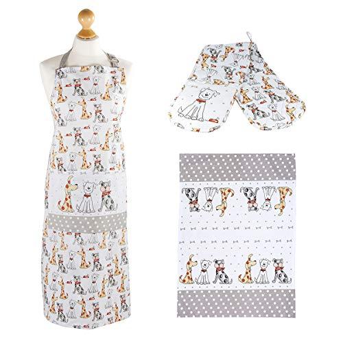 Conjunto de Textiles de Cocina Originales, 3 Pieza Set algodón Calidad paño de Cocina, Delantal y Guante de Horno diseño de Perro Regalo para Amantes de los Perros Kitchen Cook Gift Set Dog Lovers