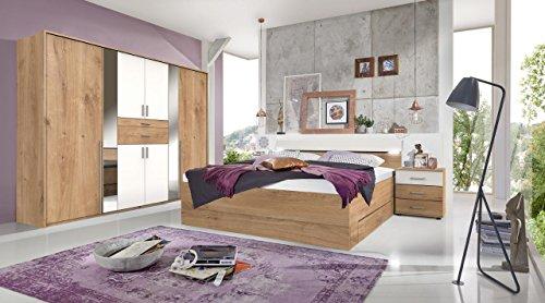 lifestyle4living Schlafzimmer Komplett Set in Eiche-Dekor und Weiß, 4-teilig | Modernes Komplettset mit Kleiderschrank, Bett und Nachtkommoden
