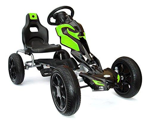 Joy 4 Kids #Scout Kinder Pedal Go-Kart, Rutscher Auto, Pedal Go Cart, Shaum Reifen Eva Wheels 5-12 Jahre grün