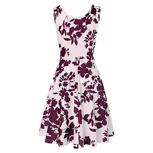 Hipster Rapunzel Kostüm - iHENGH Damen Frühling Sommer Rock Bequem Lässig Mode Kleider Frauen Röcke ärmelloses Drucken Sommerstrand eine Linie beiläufiges Kleidblumenkleid(Lila, M)
