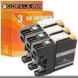 Gorilla-Ink® 3x Tinten-Patrone XXL kompatibel für Brother LC223XL LC227XL Schwarz MFC-J 480 DW DCP-J 562 DW MFC-J 680 DW MFC-J 880 DW MFC-J 1100 Series MFC-J 1140 W
