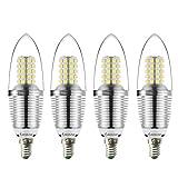 Bogao E14 LED Kronleuchter Birne Basis, 9W Tageslicht Weiß 6000K LED Kerzen Glühbirnen, 80 Watt Licht Lampen Äquivalent, 800 Lumen LED Lichter, Torpedo Form (4er Packung)