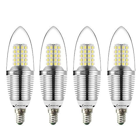 Bogao E14 LED Ampoule Candélabre, 9W Lumière du jour Blanc 6000K Ampoules à LED, 80 Watt Lumière Lampes Equivalent, 800 Lumens Lumière LED, Torpille Forme (4 Pack)