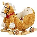 Dunjo®Pony a dondolo Marrone/Bianco con modulo sound e ruote per cavalcare, 65484