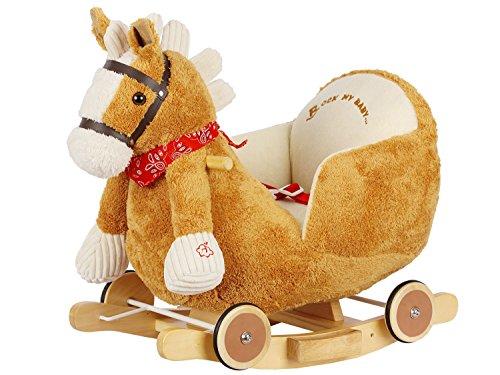 Dunjo® Schaukelpferd Plüsch | Baby Schaukeltier Pony | Für Kinder Jungen Mädchen 1 - 3 Jahre | mit Sicherheitsgurt Rollen und Musik