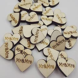 Magideal 50x Wooden Mr&Mrs Heart Wedding Embellishments Table Scatter Decoration