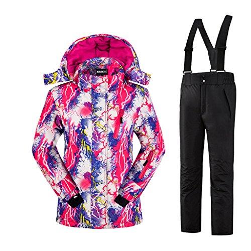 Mädchen Kinder Skianzug Skijacke Skihose Regenlatzhose Verdickung Lang Jacket Wintermantel Mantel (schwarz, 158/164)