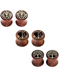 JSDDE Piercing,6er Set Sono Holz Double Flared Sattel Tunnel Plugs Lebensbaum Löwenkopf Anker Ohrstecker Ohrpiercing,8-20mm