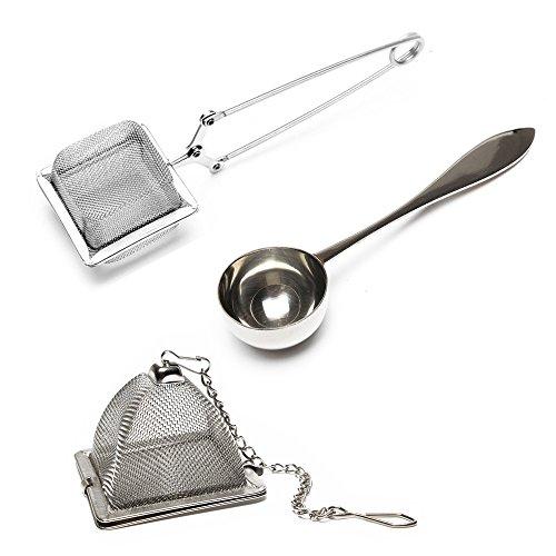 VAHDAM, 2 tea infuser, teesieb und 1 teelöffel |100% Edelstahl, Hochwertigste tea strainer | Quadratische tee sieb, Dreieckige Teekanne und perfekter Servierlöffel - 3-teilig - teefilter für losen tee Teekanne Tee Infuser