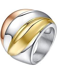 c8920661c6cb UM Joyería Mujer Acero inoxidable Amplio Anillos Oro Plata Oro rosa Tres  tonos Banda 24mm