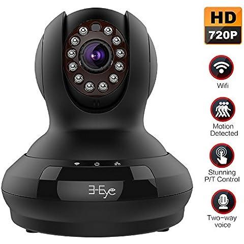 Ip camera, 3-Eye Wifi Wireless Sorveglianza Camera, Network Camera with HD 1280x720p / Iphone Android vista mobile / audio bi-direzionale Talk (Nero)