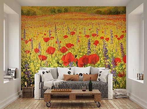 Ohpopsi campo di papaveri rossi e giallo, adesivo da parete, motivo