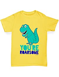 TWISTED ENVY You're Roarsome Funny Awesome Dinosaur Girl's Novelty Cotton T-Shirt, Comfortable and Soft Classic Tee With Unique Design