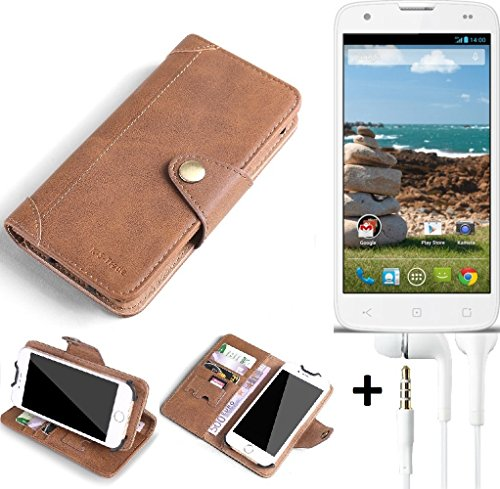 K-S-Trade® Schutzhülle für MobiWire Ahiga Hülle Tasche Handyhülle Handytasche Wallet Flipcase Cover Handy Tasche Kunsteleder Braun Inkl. in Ear Headphones