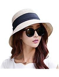 74c7af75a40 Ladies Summer Sun Hats Women Panama Straw Beach Hats Foldable Wide Brim  Floppy Fedora - UPF