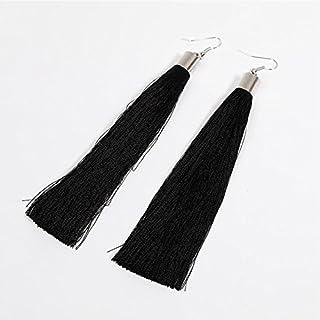 GEZICHTA 1 Pair Women Ladies Bohemia Long Tassel Earring Boho Vintage Drop Earring Jewelry Accessories(black)
