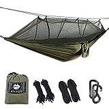 Anyoo Amaca da campeggio con zanzariera in nylon con paracadute, leggero lettino da viaggio portatile per l'escursionismo con zainetto da viaggio per corde. Moschettoni inclusi