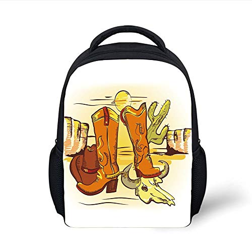 Western,Artistic Composition with Cowboy Accessories Boots Hat Skull in Hot Desert,Orange Yellow Green Plain Bookbag Travel Daypack ()