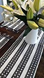 #7: 100% Cotton Black & White Handloom Dobby 5 pc Table Runner Set (1 Table Runner, 4 placemats)