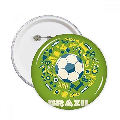 Fußball Jersey Trophy Viva Slogan Papagei Brasilien Kulturelle Element rund Pins Badge Button Kleidung Dekoration Geschenk 5X xxl -
