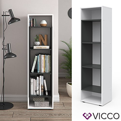 Vicco Bücherregal Anthrazit Weiss Regal Holzregal Schrank Wandregal Büroregal Aktenregal (Beton) (5-regal Bücherregal Schmal)