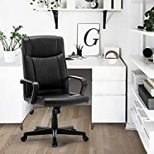FurnitureR Silla de oficina giratoria ajustable, respaldo elevado, piel sintética, poliuretano, silla para ordenador, color negro