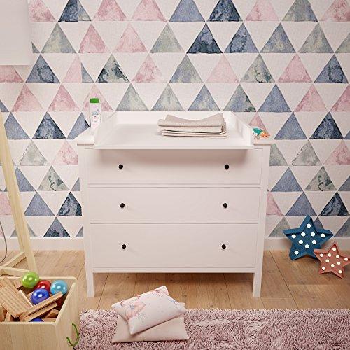 Polini Kids Wickelaufsatz Wickeltischaufsatz für Kommode Hemnes IKEA weiß