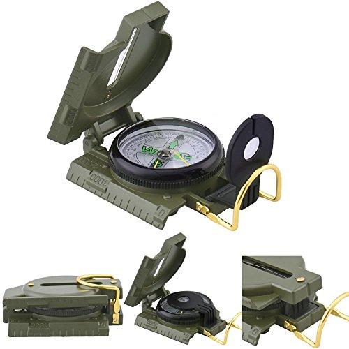 hjuns, Klappkompass / Linsenkompass mit Lupe, Militärgrün, Metall, Taschenformat -