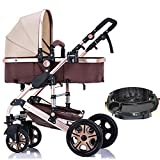 WUZHI Passeggino per Bambini 3 in 1 Passeggino Passeggino Combi Passeggino Passeggino Bambino Jogger Travel Buggy,Beige