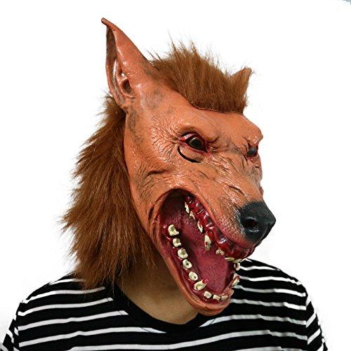 f Maske mit Haaren mask Kopf aus sehr hochwertigen Latex Material mit Öffnungen an Augen Halloween Karneval Fasching Kostüm Verkleidung für Erwachsene Männer und Frauen Damen Herren gruselig Grusel Zombie Monster Dämon Horror Party Party (Werwolf-masken)