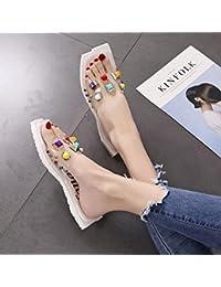 Langmotai Zapatillas Remaches Zapatos De Verano Zapatillas De Cabeza Cuadrada De Crystal Beach Lindo Zapatillas...