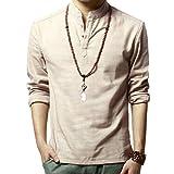 Herren Leinen Schick lässig Freizeit Langarm Shirt Einfarbig Beige DE XL (Asiatisch 3XL)