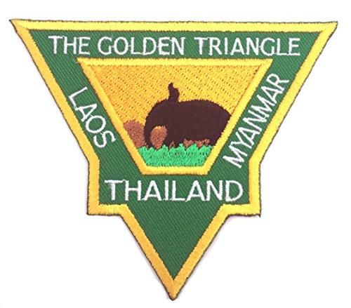 Das goldene Dreieck Patch (8,9cm) bestickt Eisen/Nähen auf Badge Thailand, Laos, Myanmar Trekking Reise Badge Elefant Trek ()