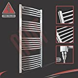 """600mm (w) x 1200mm (h) """"Fixed Temperature """"400W Curved Chrome Electric Towel Rail, Horizontal Bar Thickness: 22mm, Bar pattern: 4 + 5 + 6 + 7, (PRE-FILLED with heating solution)"""