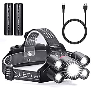 Xiancai Rechargeable LED Head Torch, Powerful Lumens Headlamp, Zoomable Waterproof Headlights