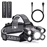Akale USB Rechargeable Head Torch, Super Bright CREE LED Headlamp, 4 Modes,Waterproof Focusable Headlight,Great for Cycling, Climbing, Camping, Dog Walking, Hiking