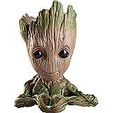 Unique Shape Marvel Avengers Infinity War Pot Baby Groot Wooden Look Tree Flowerpot Pen Container Toy Gift - Heart Design (Multi)