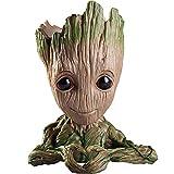 #6: Unique Shape Marvel Avengers Infinity War Pot Baby Groot Wooden Look Tree Flowerpot Pen Container Toy Gift - Heart Design (Multi)