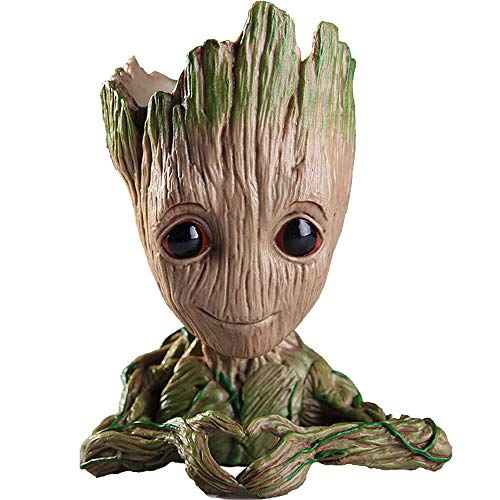 Unique Shape Marvel Avengers Infinity War Pot Baby Groot Wooden Look Tree Flowerpot Pen Container Toy Gift - Heart Design (Multi)