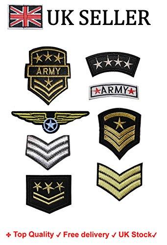 """Set di 8toppe ricamate con motivo """"ufficiale militare"""" termoadesiva o da cucire"""