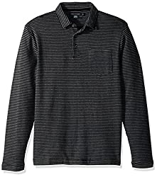 French Connection Mens Double Face Alternative Stripe Longsleeve Polo, Charcoal Melange/Black, L