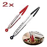 JZK Set 2 pinces alimentaires résistantes à chaleur acier inoxydable avec prendre pied pince à barbecue silicone résistant à chaleur pinces cuisson de cuisine, 2 tailles petit moyen rouge noir