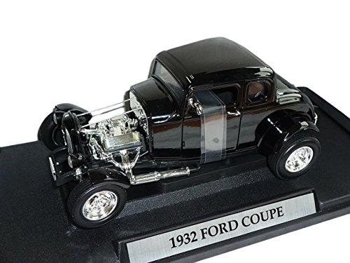 Tür Öffnen Rod (Motormax Ford Coupe Hot Rod 1932 Schwarz 1/18 Modell Auto mit individiuellem Wunschkennzeichen)