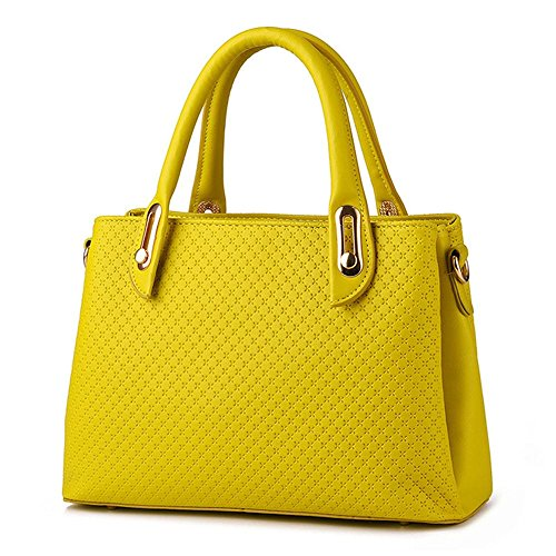 koson-man-womens-pu-leather-sling-vintage-zipper-tote-bags-top-handle-handbagyellow